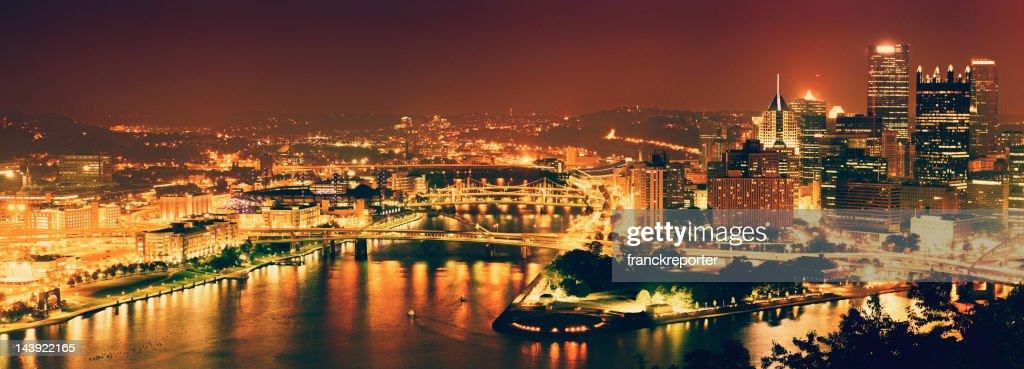 Pittsburgh skyline aerial view : Stock Photo