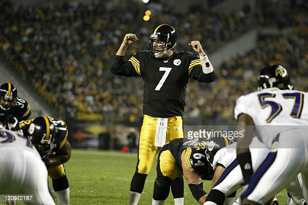 Pittsburgh Steelers Ben Roethlisberger in action against the Baltimore Ravens at Heinz Field in Pittsburgh Pennsylvania on October 31 2005