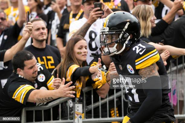 Pittsburgh Steelers cornerback Joe Haden shakes hands with fans during the game between the Jacksonville Jaguars and the Pittsburgh Steelers on...