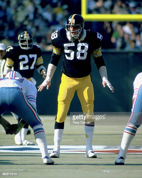 Pittsburgh Steelers Hall of Fame linebacker Jack Lambert of the Pittsburgh Steelers waits for the snap in a 2417 win over the Houston Oilers on...