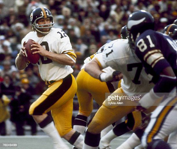 Pittsburgh Steelers Hall of Fame quarterback Terry Bradshaw looks to make a pass in a 166 winover the Minnesota Vikings in Super Bowl IX on January...
