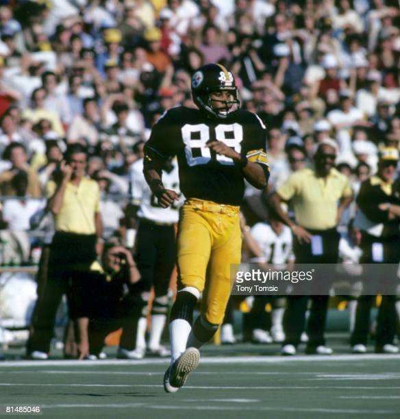 Pittsburgh Steelers Hall of Fame wide receiver Lynn Swann runs his route during a 2724 victory over the Kansas City Chiefs on October 29 at Three...