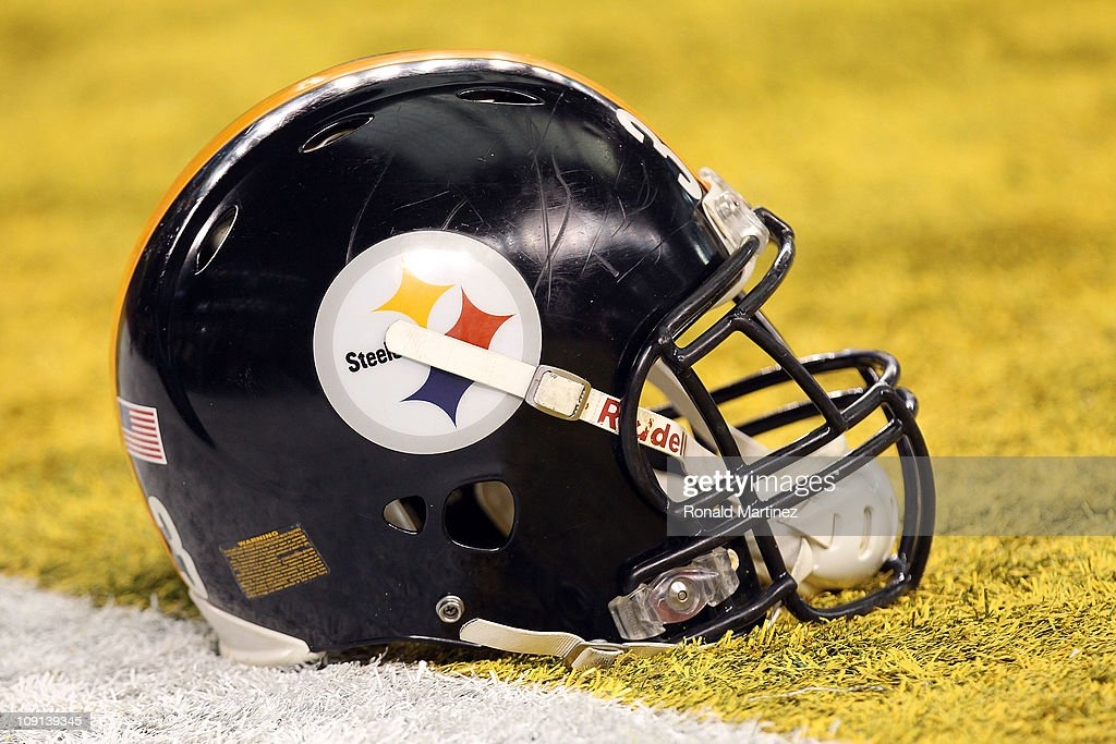 Pittsburgh Steelers helmet sit in the endzone before the Steelers take on the Green Bay Packers during Super Bowl XLV at Cowboys Stadium on February...