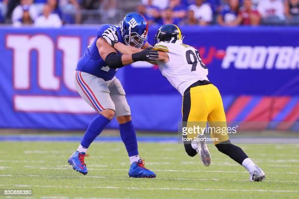 Pittsburgh Steelers linebacker TJ Watt battles New York Giants offensive tackle Ereck Flowers during the Preseason National Football League game...