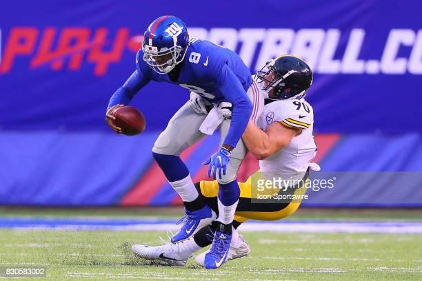 Pittsburgh Steelers linebacker TJ Watt sacks New York Giants quarterback Josh Johnson during the Preseason National Football League game between the...
