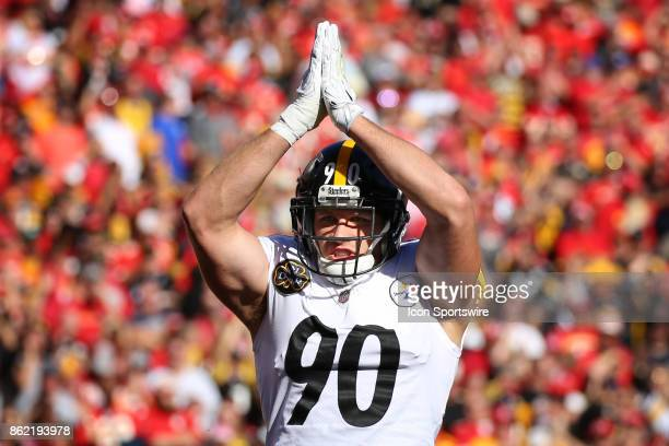 Pittsburgh Steelers outside linebacker TJ Watt celebrates after a safety in the first quarter of a week 6 NFL game between the Pittsburgh Steelers...