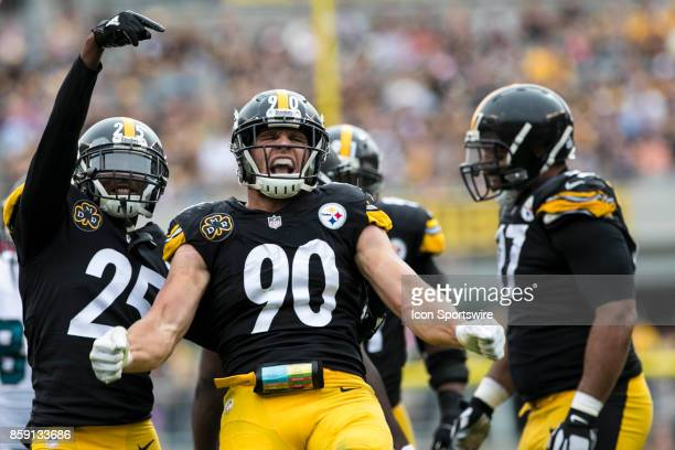 Pittsburgh Steelers outside linebacker TJ Watt is fired up during the game between the Jacksonville Jaguars and the Pittsburgh Steelers on October 8...