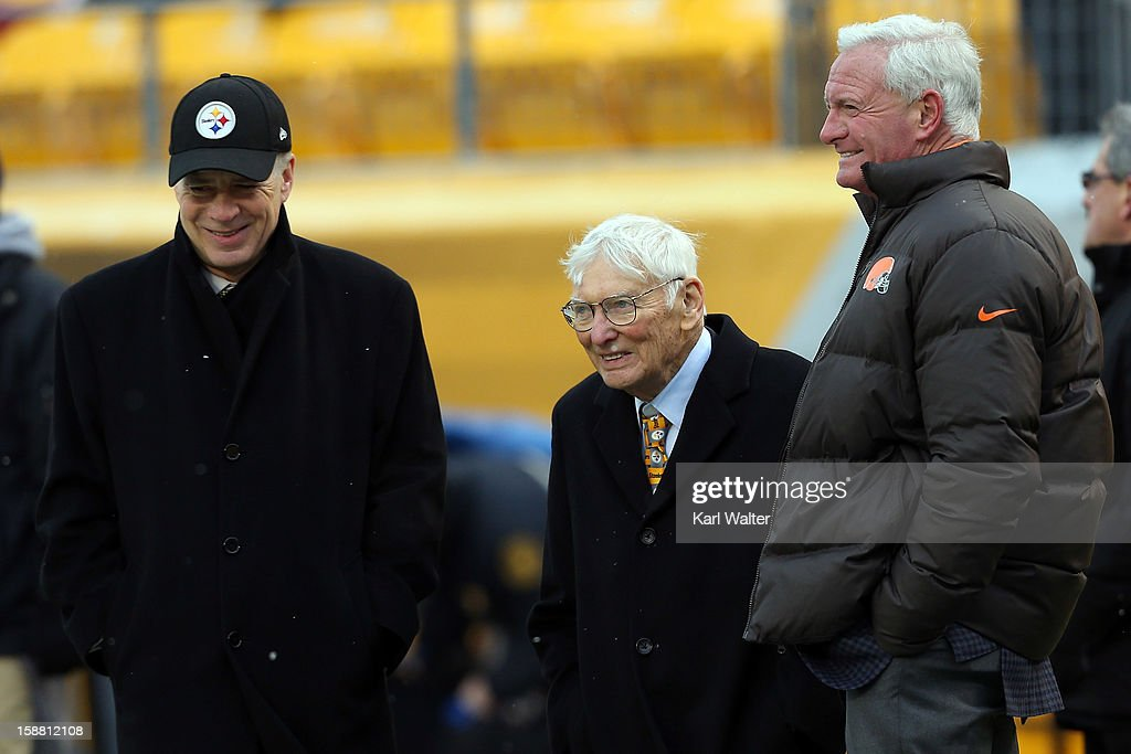 Pittsburgh Steelers owners Art Rooney II (C) and <a gi-track='captionPersonalityLinkClicked' href=/galleries/search?phrase=Dan+Rooney&family=editorial&specificpeople=725695 ng-click='$event.stopPropagation()'>Dan Rooney</a> talk with Cleveland Browns owner <a gi-track='captionPersonalityLinkClicked' href=/galleries/search?phrase=Jimmy+Haslam&family=editorial&specificpeople=9661842 ng-click='$event.stopPropagation()'>Jimmy Haslam</a> (R) before their game at Heinz Field on December 30, 2012 in Pittsburgh, Pennsylvania.