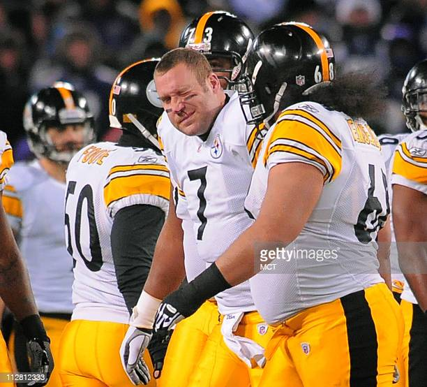 Pittsburgh Steelers quarterback Ben Roethlisberger leaves the field bleeding from his nose after a first quarter sack The Pittsburgh Steelers defeat...