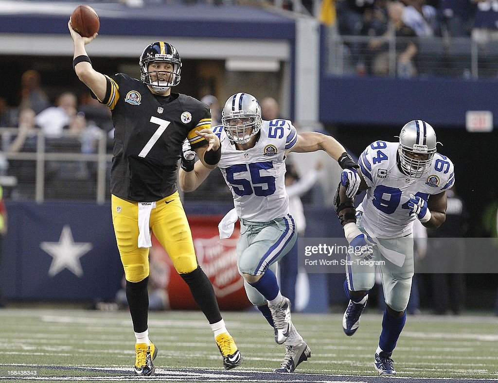 Pittsburgh Steelers quarterback Ben Roethlisberger (7) throws to a open teammate as Dallas Cowboys outside linebacker Alex Albright (55) and outside linebacker DeMarcus Ware (94) apply pressure during the first half at Texas Stadium in Arlington, Texas, Sunday, December 16, 2012.