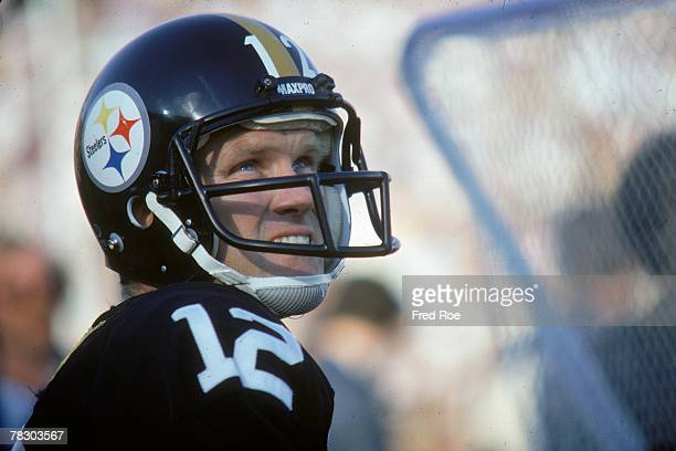 Pittsburgh Steelers quarterback Terry Bradshaw looks on from the sideline during a 3119 victory over the Los Angeles Rams in Super Bowl XIV on...