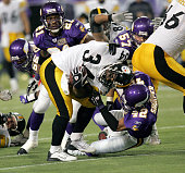Pittsburgh Steelers running back Vernon Haynes is tackled by Darren Sharper in the fourth quarter of a game against the Minnesota Vikings on December...