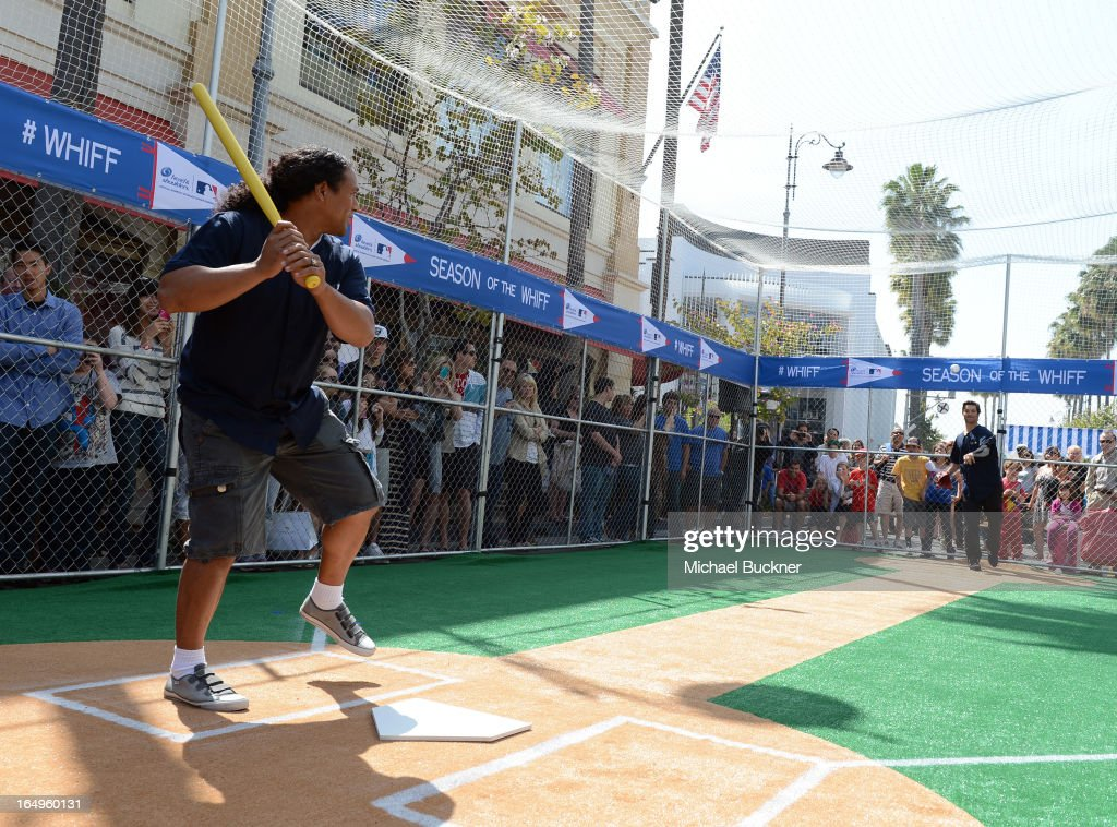 Pittsburgh Steelers Troy Polamalu and Los Angeles Angels of Anaheim pitcher C.J. Wilson launch Head and Shoulders first ever 'Whiff-A-Thon' event to launch the Season of the Whiff campaign. For every 'whiff' (strikeout) during the 2013 regular MLB season, Head & Shoulders will make a $1 donation to Reviving Baseball in Inner Cities, at The Grove on March 29, 2013 in Los Angeles, California.