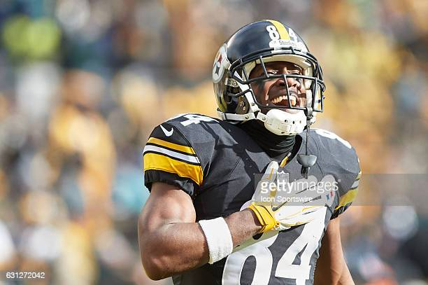 Pittsburgh Steelers wide receiver Antonio Brown celebrates after making a 62 yard touchdown in the first quarter during a NFL AFC Wild Card football...
