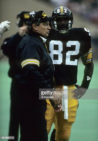 Pittsburgh Steelers wide receiver John Stallworth inducted into the Pro Football Hall of Fame class of 2002 on the sidelines during a game in 1987