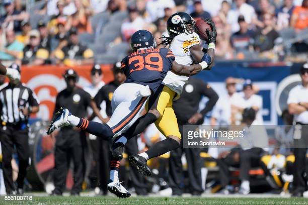 Pittsburgh Steelers wide receiver Martavis Bryant battles with Chicago Bears free safety Eddie Jackson to catch the football during an NFL football...