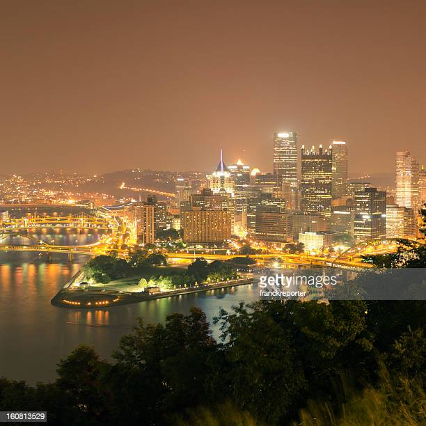 Pittsburgh view by night from a south hill