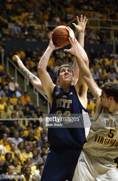 Pittsburgh's Aaron Gray goes up for 2 points against West Virginia during action at the WVU Coliseum in Morgantown West Virginia on February 27 2005