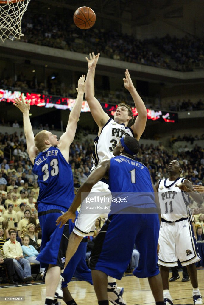 Pittsburgh's Aaron Gray puts up 2 points during action against Seton Hall at the Petersen Events Center on March 3 2006 in Pittsburgh Pennsylvania