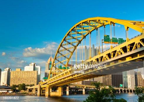 Pittsburgh's Fort Pitt Bridge Glowing in the Sunshine