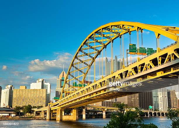 Pittsburgh's Fort Pitt Bridge Glowing in the Sunshine