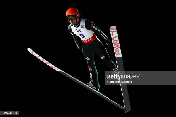Pius Paschke of Germany jumps during trainining for the 2017 FIS Ski Jumping World Cup test event For PyeongChang 2018 at Alpensia Ski Jumping Center...