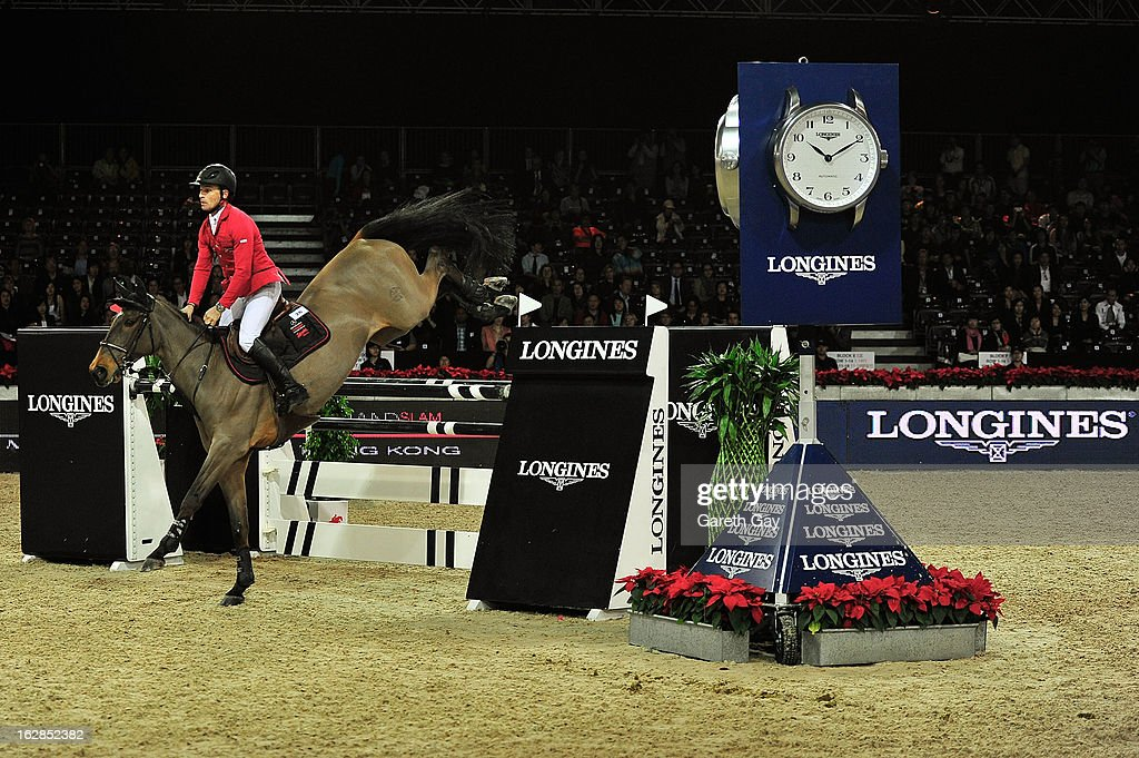 Pius Schweiger of Switzerland rides Ulysse during the Furusiyya FEI Nations Cup on February 28, 2013 in Hong Kong.