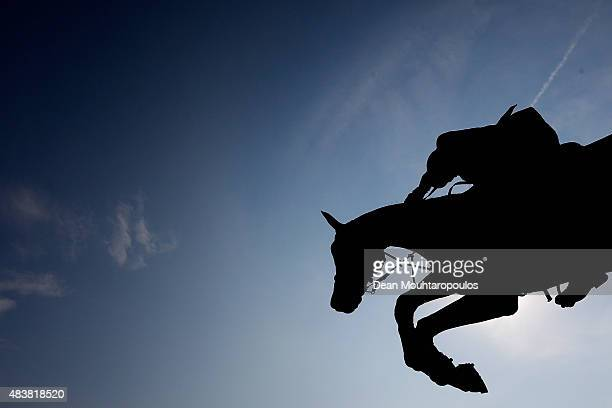 Pius Schwizer of Switzerland riding PSG Junior competes in the Class 02 CSI5* 150/155m Against the Clock with JumpOff during the Longines Global...