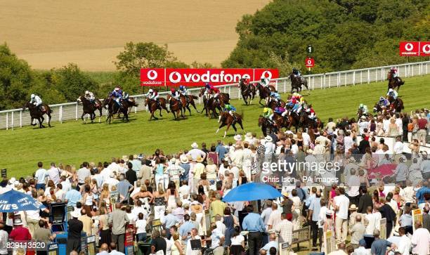 Pivotal Point with jockey Seb Sanders on the way to winning in the Vodafone Stewards' Cup at the Glorious Goodwood festival near Chichester West...