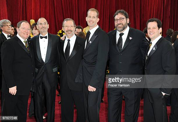 Pixar's John Lasseter Apple's Steve Jobs Pixar's Ed Catmull director Pete Docter producer Bob Peterson and composer Michael Giacchino arrive at the...