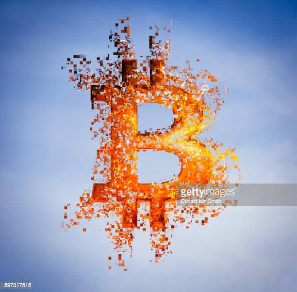 Pixelated bitcoin symbol in sky