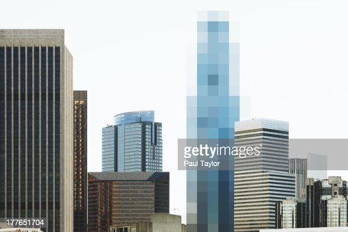 Pixelated Building in Skyline : Stock Photo
