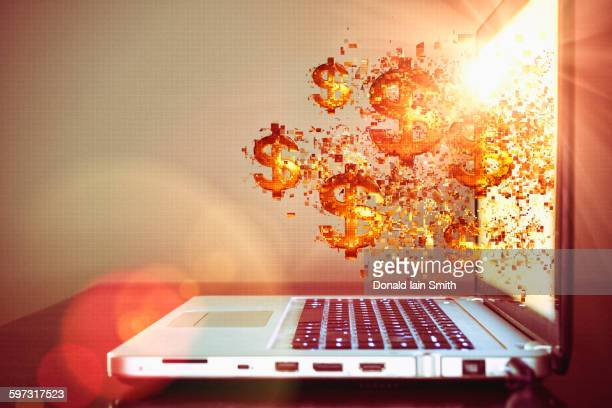 Pixelated dollar signs floating from laptop screen