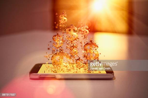 Pixelated dollar signs floating over cell phone