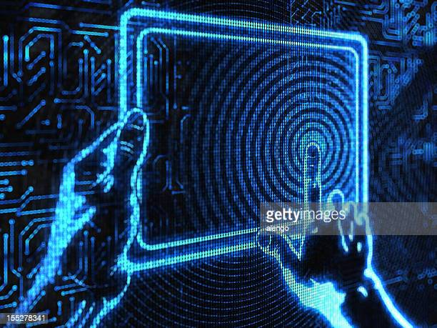 Pixelated image of hands using touchscreen device