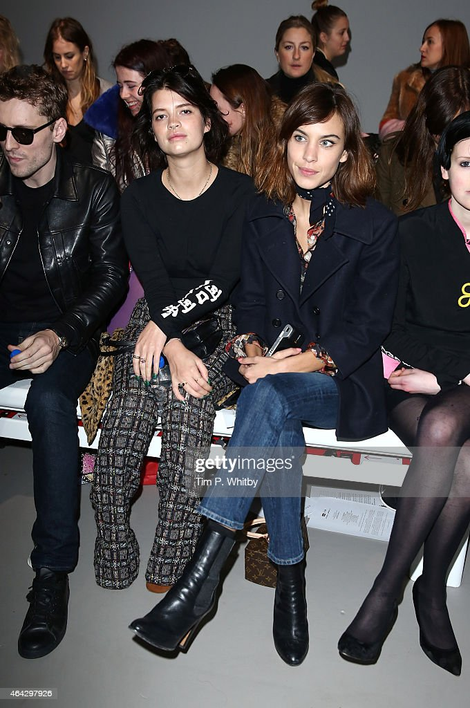 Pixie Geldof and Alexa Chung attend the Ashley Williams show during London Fashion Week Fall/Winter 2015/16 at Somerset House on February 24, 2015 in London, England.