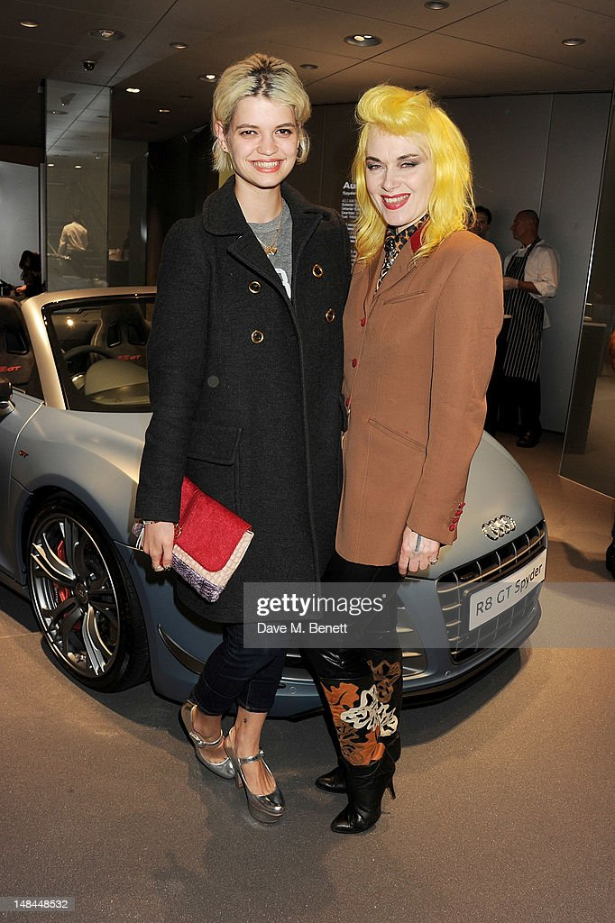 Pixie Geldof (L) and Pam Hogg attend a party celebrating the global launch of Audi City, Audi's first digital showroom, featuring an art installation by Chris Cunningham, on July 16, 2012 in London, England.