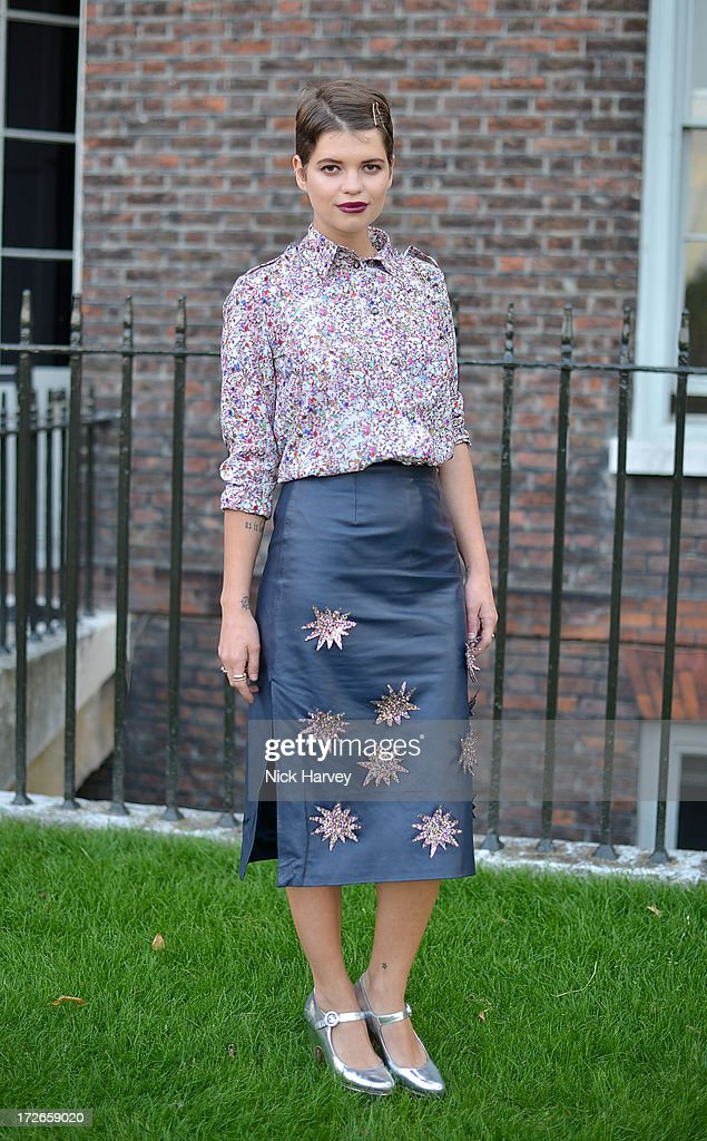 Pixie Geldof attends the launch party for the Fashion Rules exhibition, a collection of dresses worn by HRH Queen Elizabeth II, Princess Margaret and Diana, Princess of Wales at Kensington Palace on July 4, 2013 in London, England.