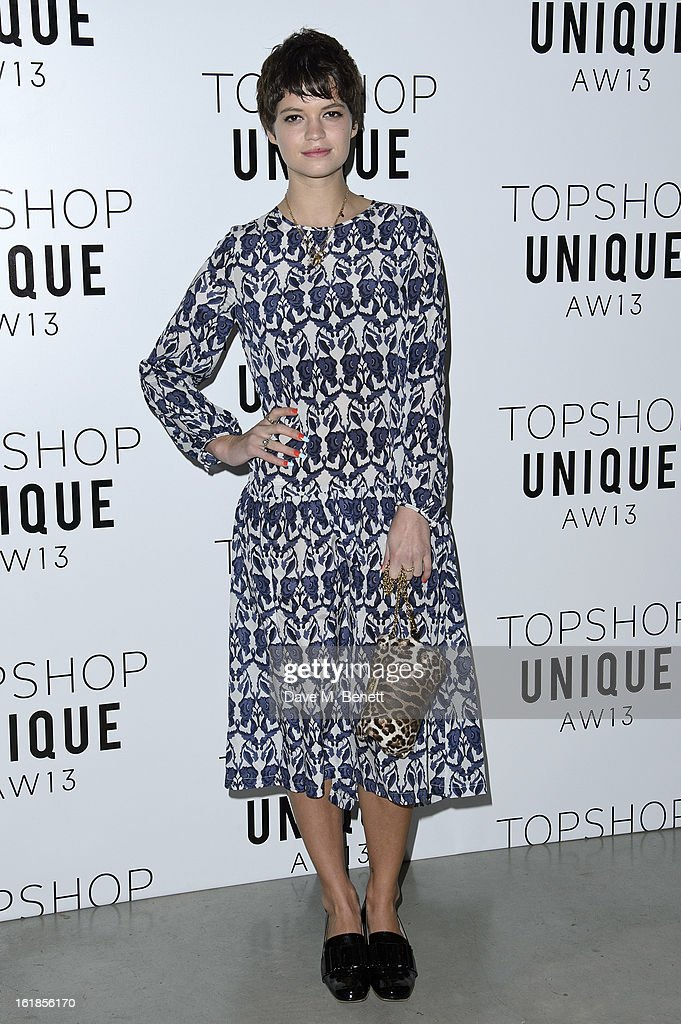 <a gi-track='captionPersonalityLinkClicked' href=/galleries/search?phrase=Pixie+Geldof&family=editorial&specificpeople=208703 ng-click='$event.stopPropagation()'>Pixie Geldof</a> attends the Topshop Unique Autumn/ Winter 2013 catwalk show at the Topshop Show Space on February 17, 2013 in London, England.