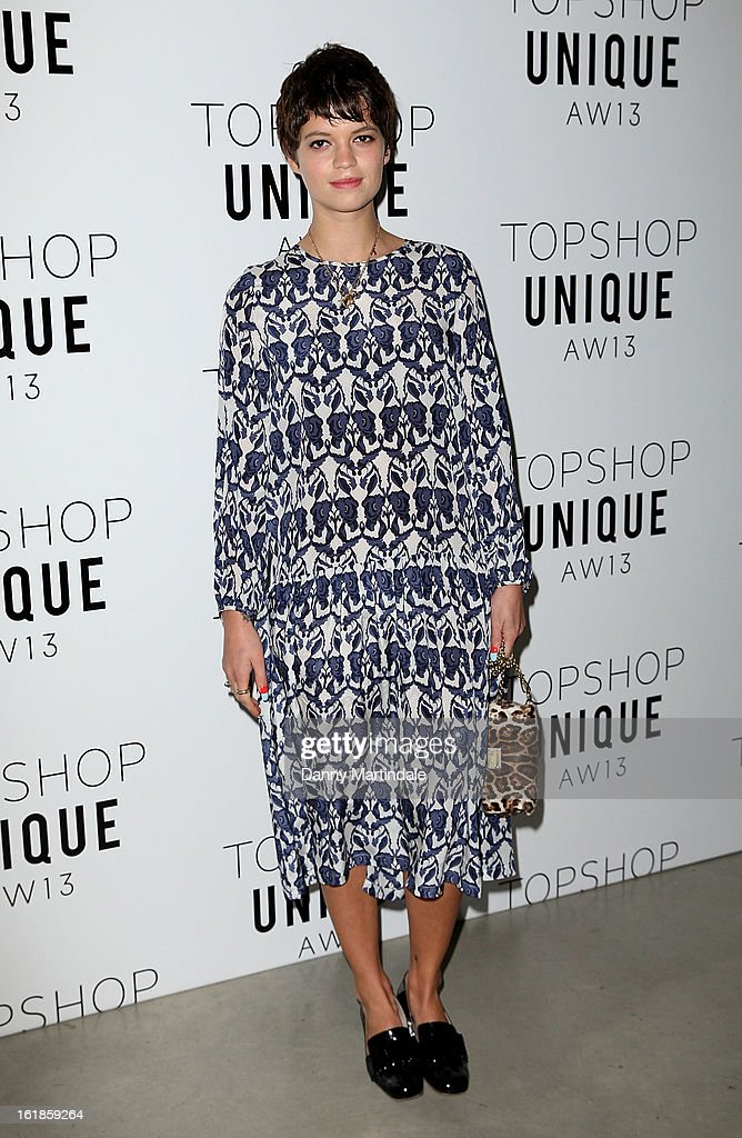 Pixie Geldof attends the Unique show during London Fashion Week Fall/Winter 2013/14 at TopShop Show Space on February 17, 2013 in London, England.