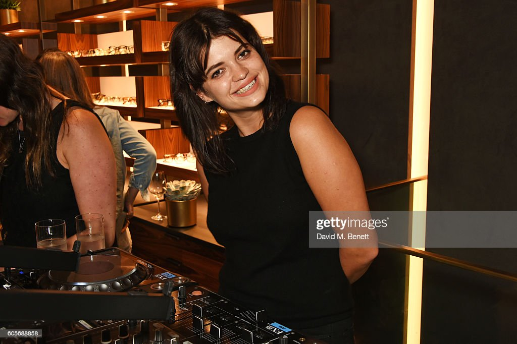 Pixie Geldof DJs at the first Oliver Peoples boutique launch in Europe on September 14, 2016 in London, England.