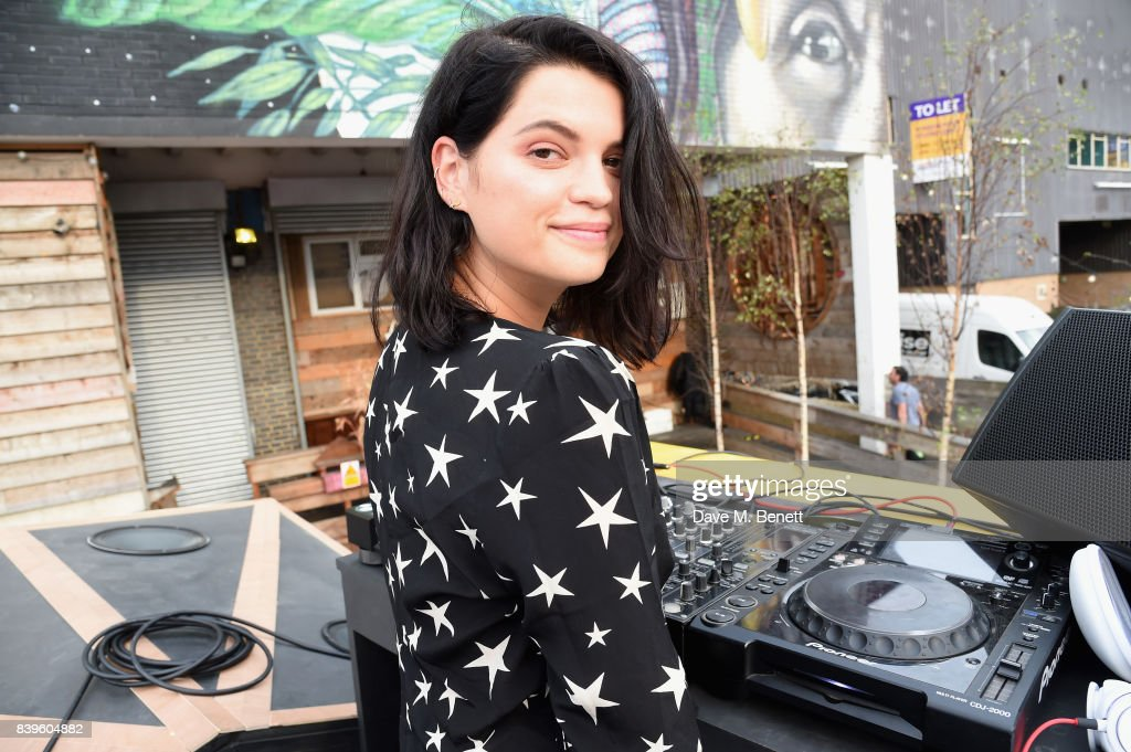 Pixie Geldof gets the party started and encourages guests to exchange their empty bottles for beats at Kopparberg's Recycling Rig event at Number 90 in Hackney Wick on August 26, 2017 in London, England.