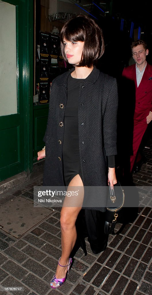<a gi-track='captionPersonalityLinkClicked' href=/galleries/search?phrase=Pixie+Geldof&family=editorial&specificpeople=208703 ng-click='$event.stopPropagation()'>Pixie Geldof</a> sighting leaving The Box, Soho on April 30, 2013 in London, England.