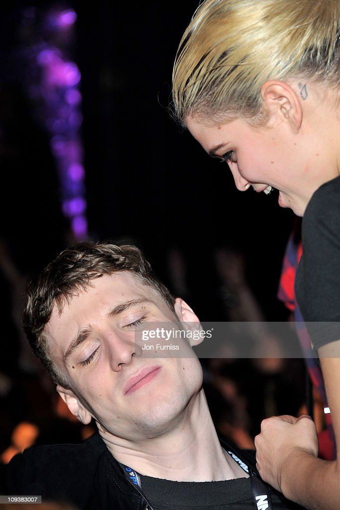 Pixie Geldof talks to a guest during the NME Awards 2011 at Brixton Academy on February 23, 2011 in London, England.
