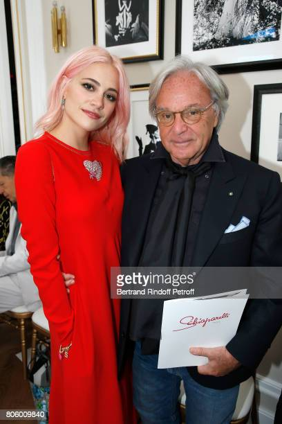 Pixie Lott and Diego Della Valle attend the Schiaparelli Haute Couture Fall/Winter 20172018 show as part of Haute Couture Paris Fashion Week on July...