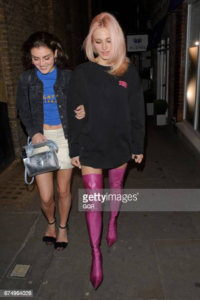 Pixie Lott and friend leaving Mews of Mayfair restaurant on April 29 2017 in London England