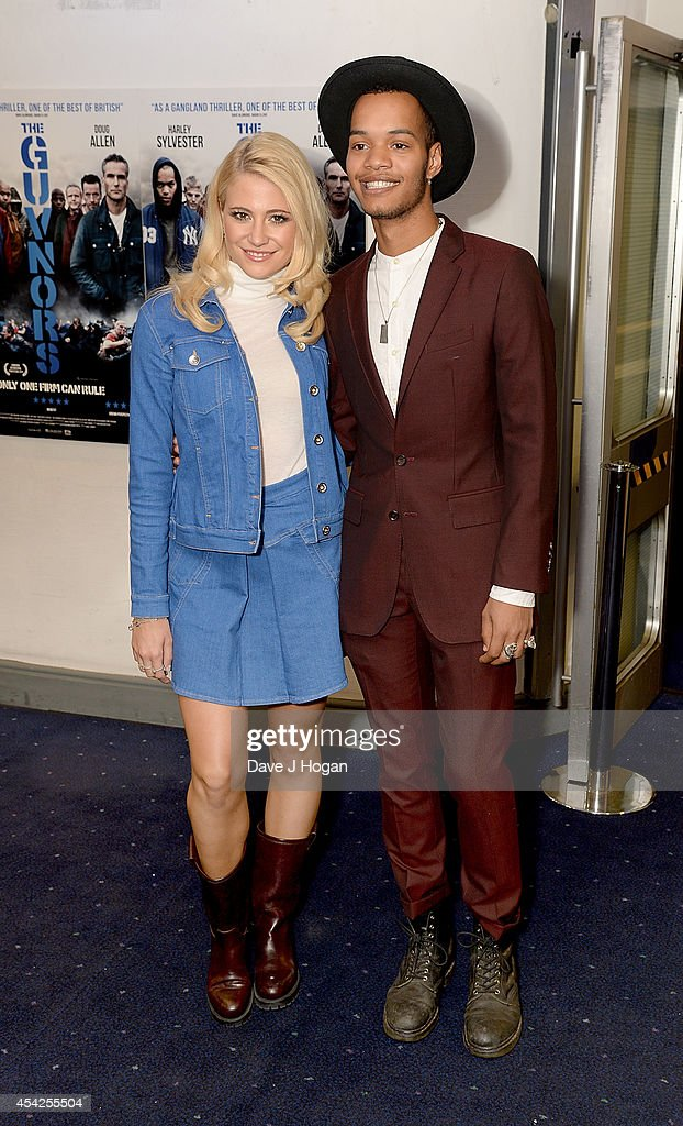 Pixie Lott and Harley Sylvester attend the UK Premiere of 'The Guvnors' at Odeon Covent Garden on August 27, 2014 in London, England.