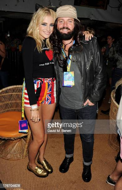 Pixie Lott and Leigh Francis aka Keith Lemon attend the Mahiki Coconut Backstage Bar during day 1 of V Festival 2013 at Hylands Park on August 17...
