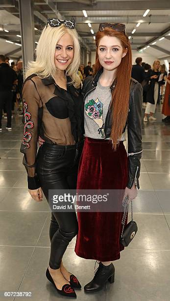 Pixie Lott and Nicola Roberts attend the Markus Lupfer presentation during London Fashion Week Spring/Summer collections 2017 on September 17 2016 in...