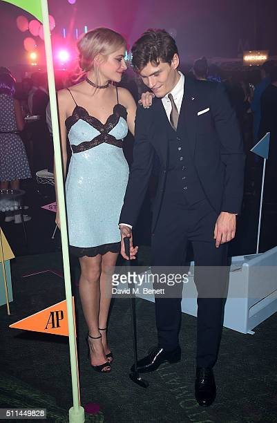Pixie Lott and Oliver Cheshire at The Naked Heart Foundation's Fabulous Fund Fair in London at Old Billingsgate Market on February 20 2016 in London...